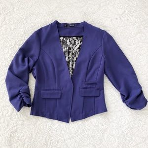 🔴 Maurice's Purple Solid Open Front Blazer L